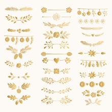 Set Of Golden Hand Drawn Winte...