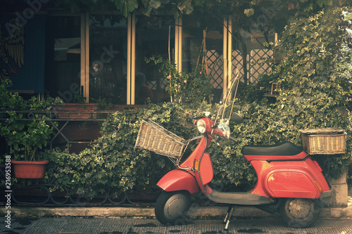 Garden Poster Scooter red vintage scooter, traditional transport holiday in italy