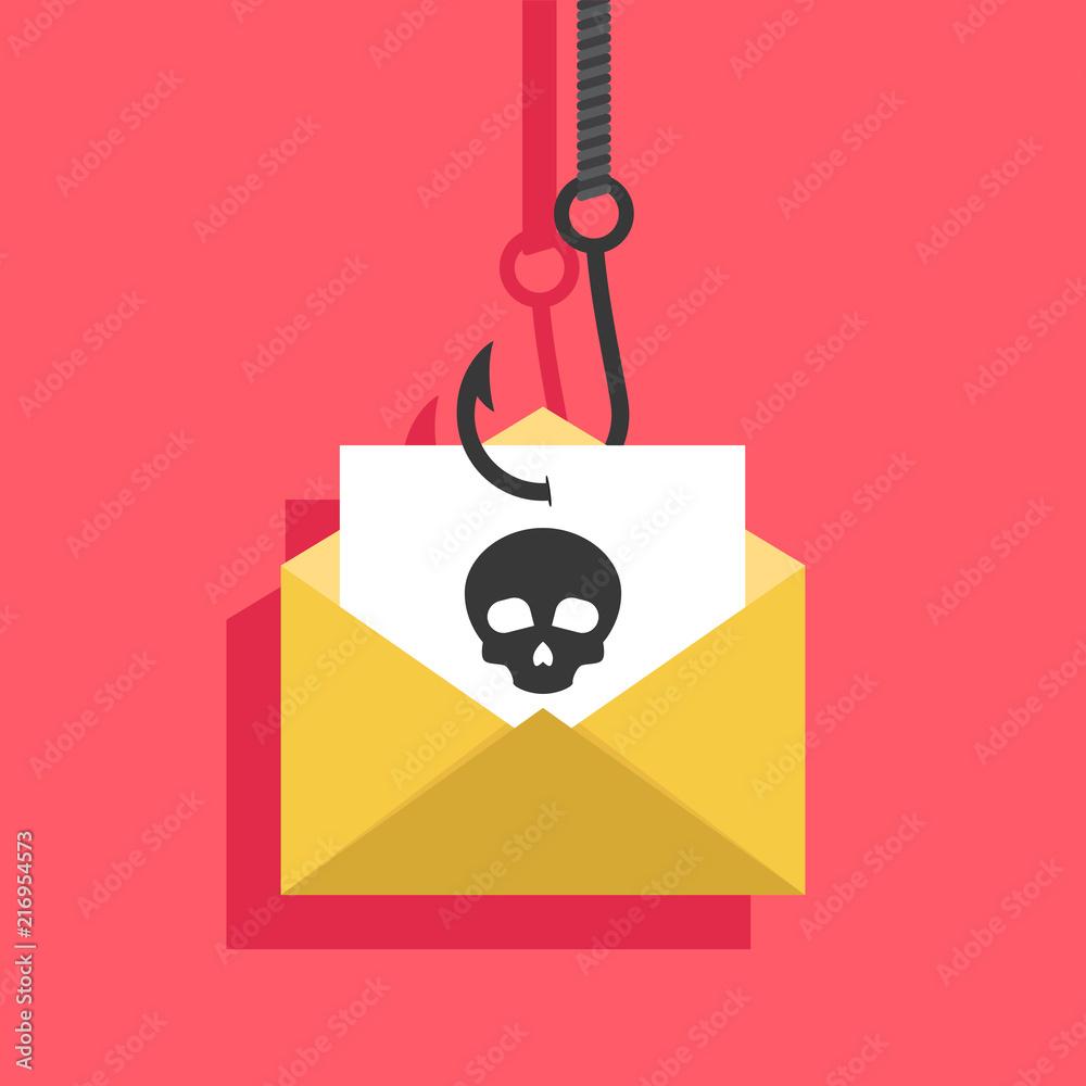 Fototapeta Phishing flat, phishing design, phishing vector, phishing illustration, internet crime phishing via email, fishing hook, flat design vector illustration