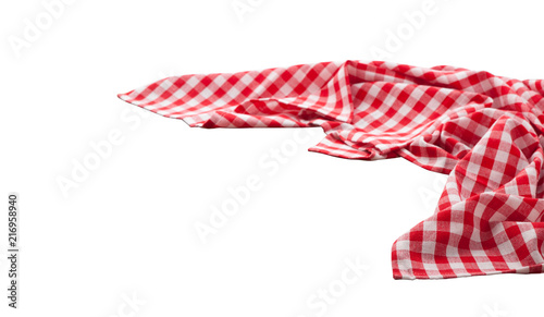 Red and white checkered tablecloth isolated. Napkin close up top view mock up