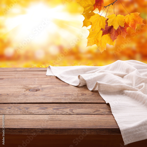 Fotografie, Obraz  Empty wooden table with tablecloth