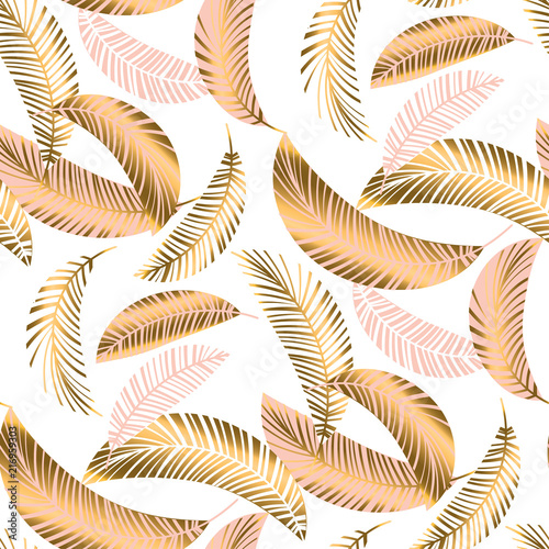 Fotografía  Pastel luxury exotic seamless pattern with palm leaves