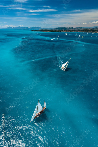 Photo French Riviera - old sail race above aerial view in Cap d'Antibes