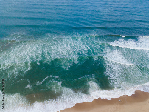 Stickers pour portes Eau aerial view of Fantastic waves and beach