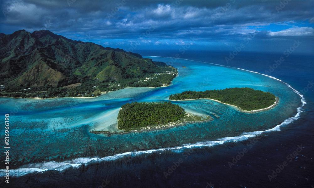 Fototapeta Moorea Tiahura & Fareone Motu - Tahiti