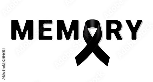 Photo Memory Black awareness ribbon on white background