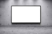 Blank Advertising Billboard Led Panel On Concrete Wall Building Street Roadside Background