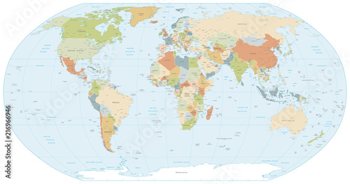 Robinson projection map of the World Wallpaper Mural