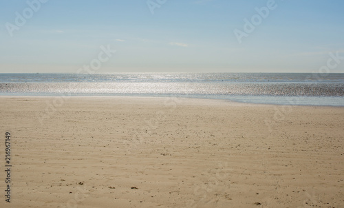 Staande foto Strand Deserted sandy beach at Littlehampton, Sussex, England