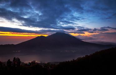 volcano Batur, Bali island, Indonesia. Sunrise, cloudy weather