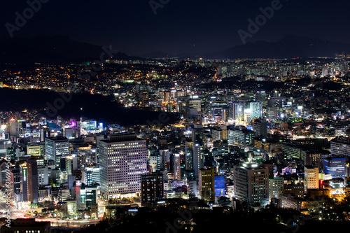 Fotobehang Seoel Seoul bei Nacht