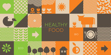 Natural Eco Food Icons In Grid Order
