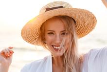 Cute Blonde Woman Wearing Hat ...