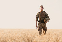 Soldier Man Standing Against A...