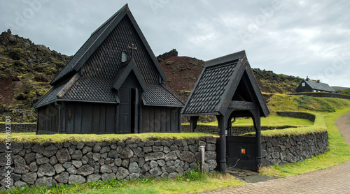 Keuken foto achterwand Historisch geb. Heimaey Wood Church, south of Iceland