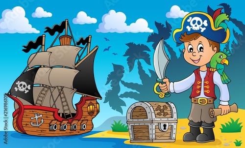 Poster Voor kinderen Pirate boy topic image 2