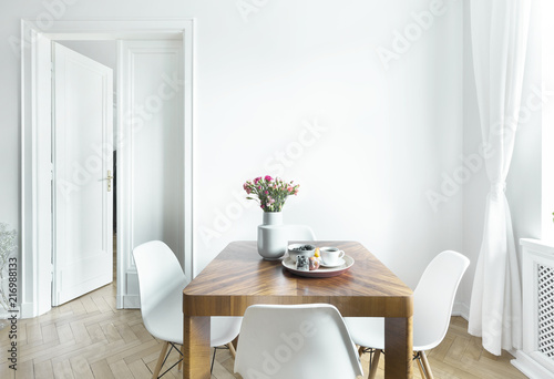 Obraz Dining table with fresh flowers and breakfast tray with coffee cup and fruits in real photo of white room interior with empty wall. Paste your painting here - fototapety do salonu