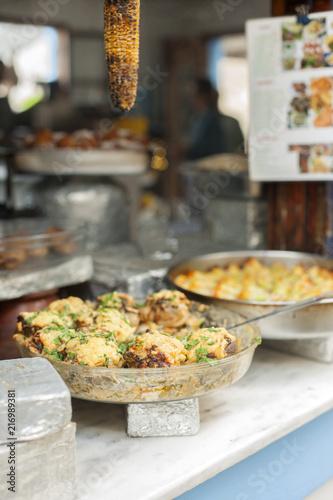 Traditional Greek food in greek restaurant in Greek coast