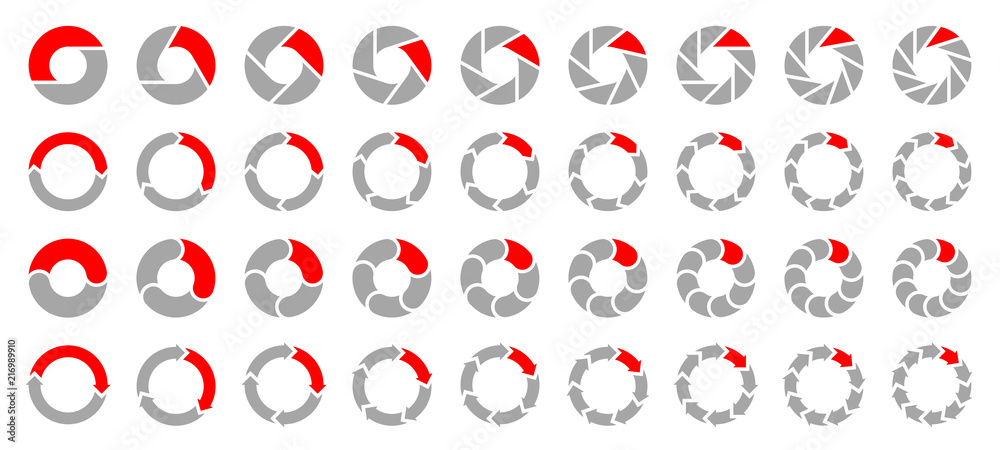 Fototapeta Square Set Pie Charts Arrows Grey/Red