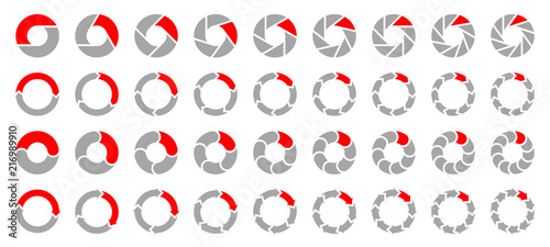 Obraz Square Set Pie Charts Arrows Grey/Red - fototapety do salonu