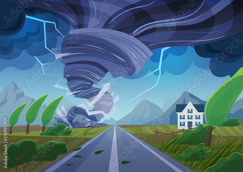 Foto op Canvas Nachtblauw Twisting tornado over road destroying civil building. Hurricane storm in countryside landscape. Natural Disaster waterspout in field vector illustration.