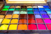 An Art  Tray Full Of Colourful Pigment Used To Make Paints, All Colours Of The Rainbow, Color, Colorful