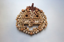 Wine Corks Halloween Pumpkin Abstract Composition