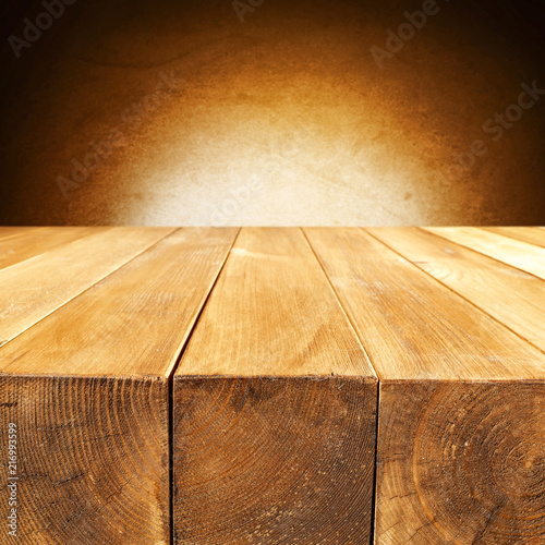 Fotobehang Stof Desk of free space and dark brown wall space