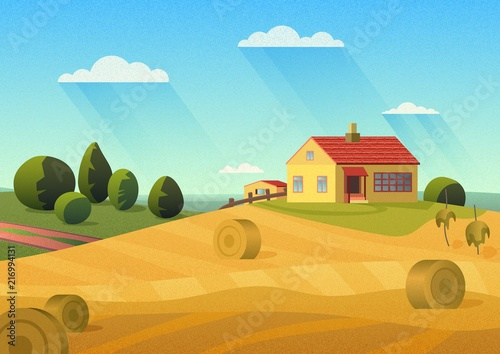 Foto  Colorful illustration of farmhouse in countryside with golden haystacks and blue sky with film noise effect