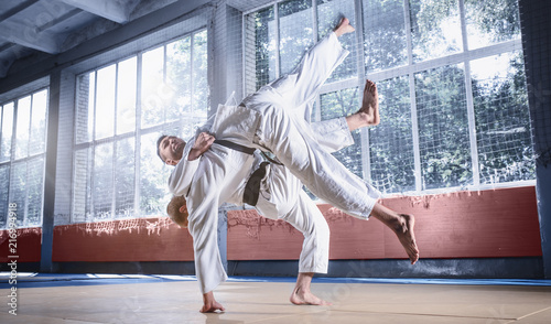 Fotografie, Obraz  Two judo fighters showing technical skill while practicing martial arts in a fight club