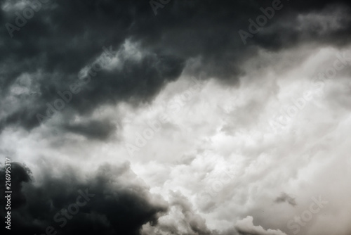 Garden Poster Smoke Black cloud and thunderstorm before rainy, Dramatic black clouds and dark sky