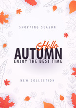 Autumn Background With Leaves For Shopping Sale Or Promo Poster And Frame Leaflet Or Web Banner. Vector Illustration Template.