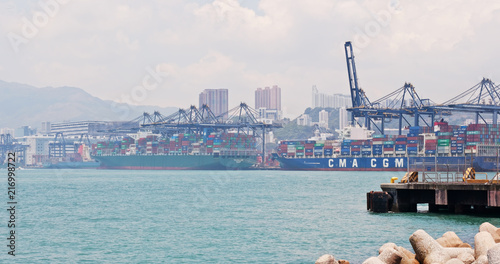 Fotobehang Poort Hong Kong Kwai Tsing Container Terminal