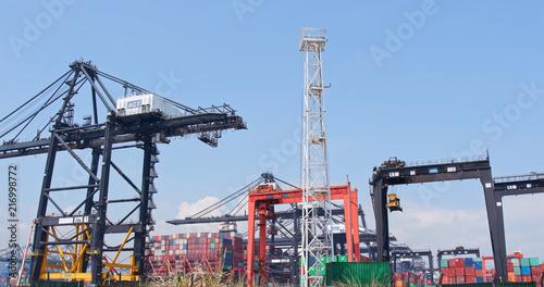 Fotobehang Poort Kwai Tsing Container Terminal in Hong Kong city
