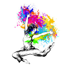 FototapetaDancing girl with color splashes on white background. Vector illustration