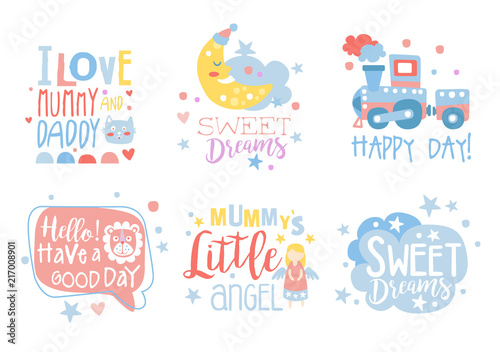 Cute Hand Drawn Decor Elements With Motivation Phrases Card