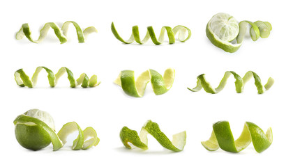 Set with lime peel on white background