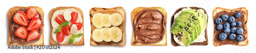 Photo Set with toast bread and different toppings on white background, top view