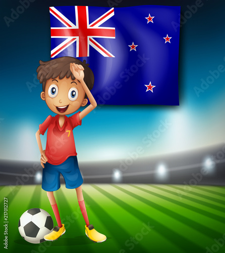 Staande foto Kids New Zealand flag with male soccer player