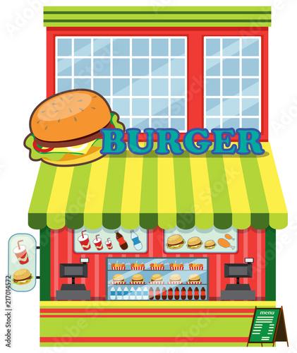 Exterior of burger shop