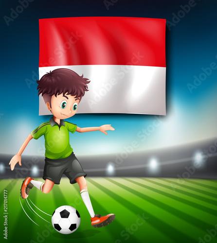 Staande foto Kids Indonesia soccer player concept