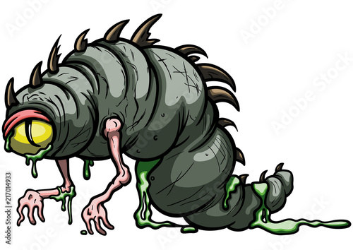 Cuadros en Lienzo Funny larva monster/ Illustration amorphous cartoon worm creature with one eye