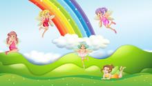 Fairies With Rainbow Scene