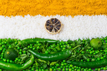 Indian Flag With Vegetables An...
