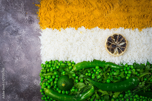 Photo  Indian flag with vegetables and rice