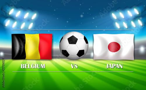 Fotobehang Kids Belgium VS Japan template