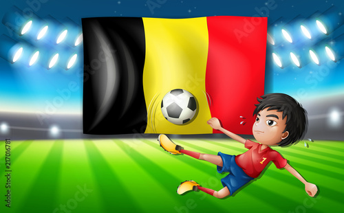 Fotobehang Kids Belgium soccer player kicking a ball