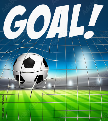Fotobehang Kids Goal with soccer ball in net concept