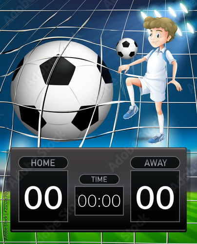 Fotobehang Kids Soccer player with score board concept