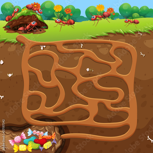 Fotobehang Kids Maze with ants and candy concept